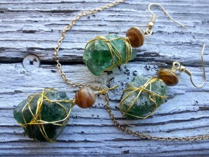 bmc-green-rock-gold-with-bead-necklace-and-earrings-set
